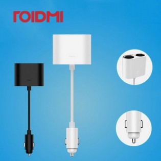 Roidmi 1 to 2 Car Cigarette Lighter Charger Adapter Black